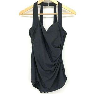 Lands End Womens Swimsuit Size 12 Black Ruched One